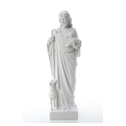Good Shepherd with sheep, statue in reconstituted marble 60-80 cm 2