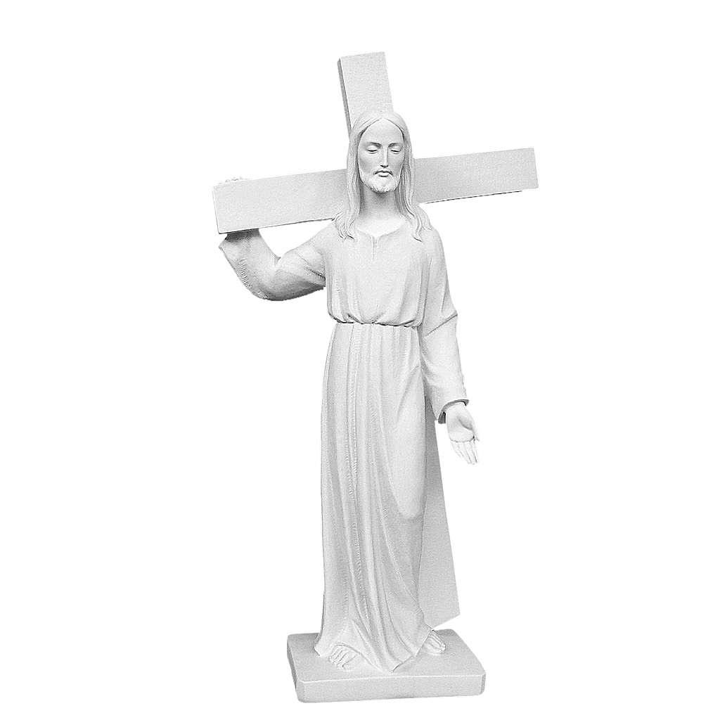 Cristo porta la croce 90 cm marmo bianco 4