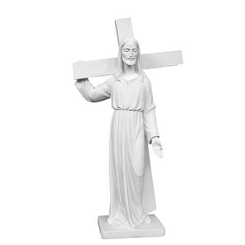 Cristo porta la croce 90 cm marmo bianco 1