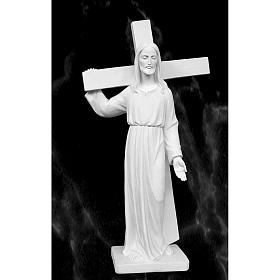 Christ Carrying Cross, 90 cm statue in reconstituted marble s1