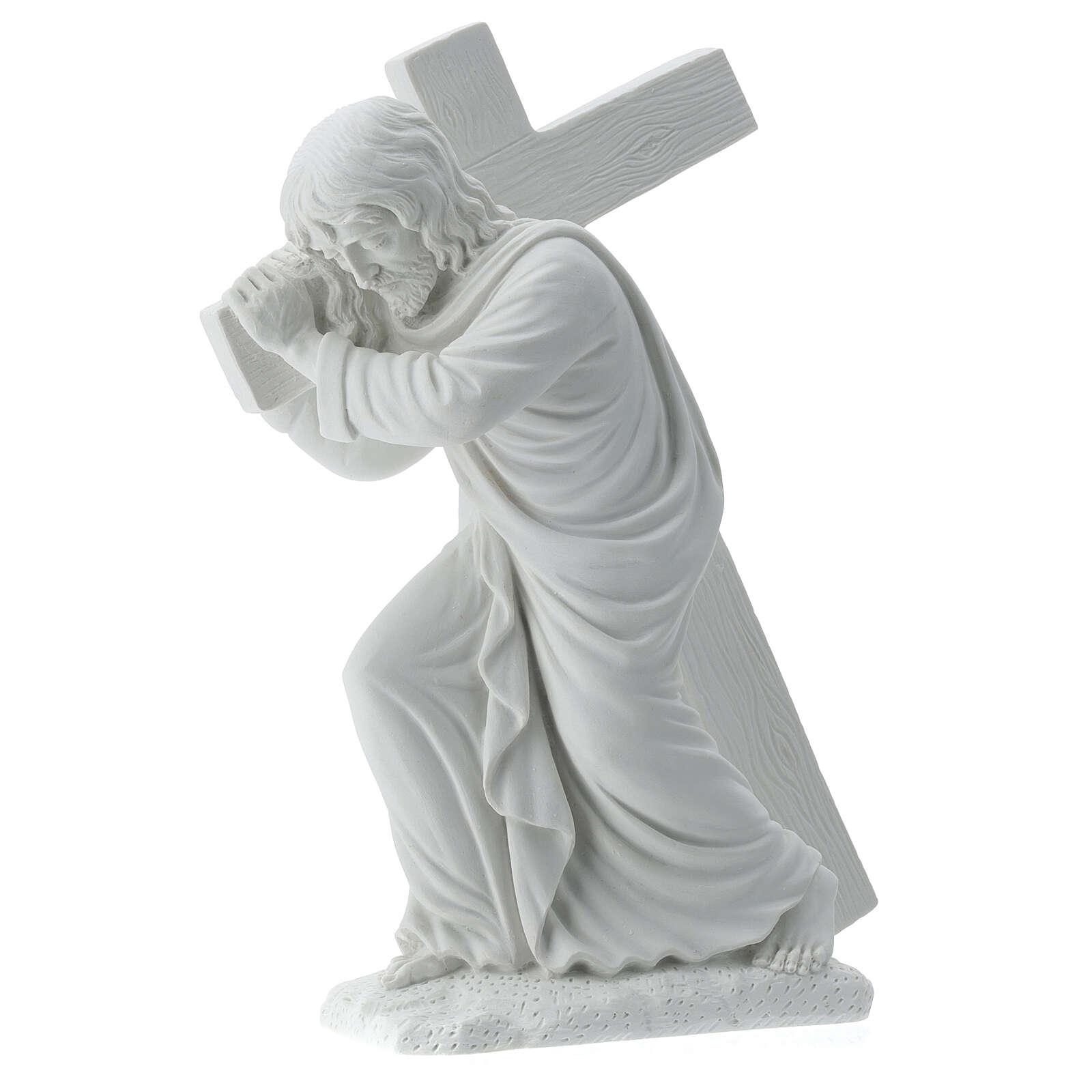 Cristo con la cruz,  40 cm mármol sintético 4