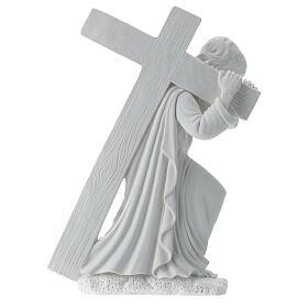 Cristo con la cruz,  40 cm mármol sintético s6
