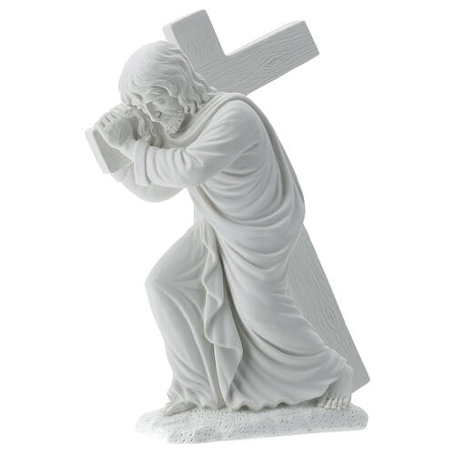 Cristo con la cruz,  40 cm mármol sintético 3