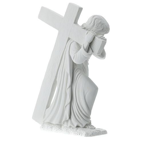 Cristo con la cruz,  40 cm mármol sintético 5