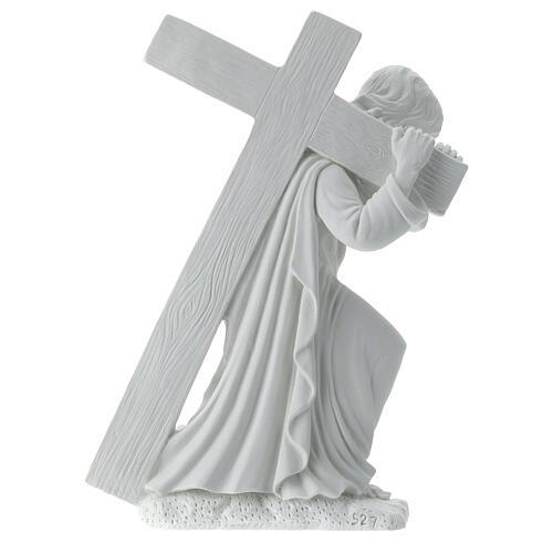 Cristo con la cruz,  40 cm mármol sintético 6