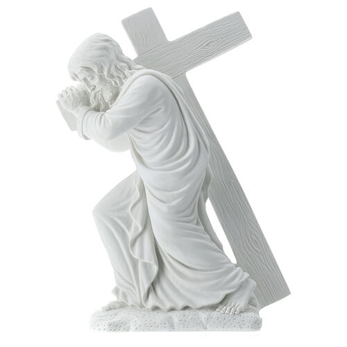 Cristo con la cruz,  40 cm mármol sintético 7