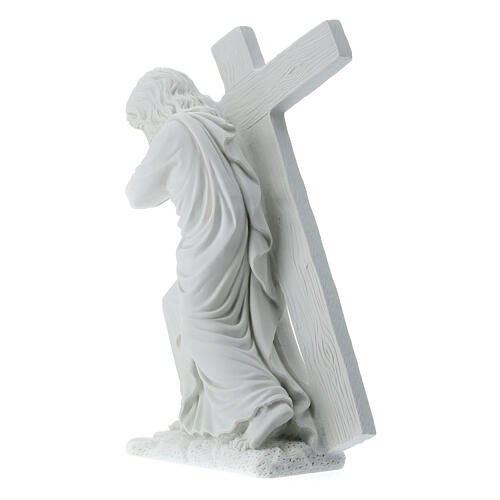 Cristo con la cruz,  40 cm mármol sintético 8