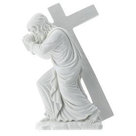 Cristo porta la croce 40 cm marmo s7