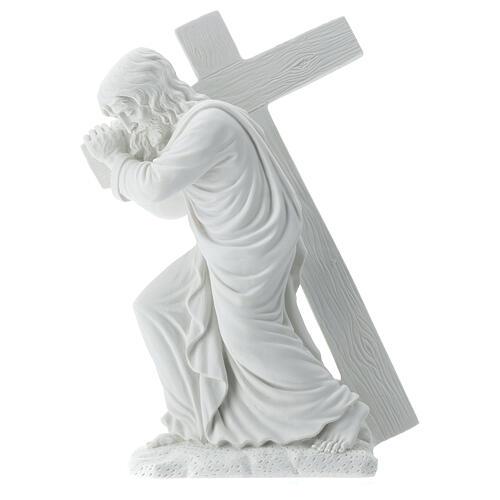 Cristo porta la croce 40 cm marmo 7