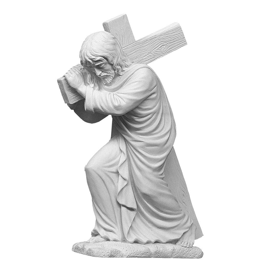 Christ Carrying Cross, statue in reconstituted marble, 40 cm 4