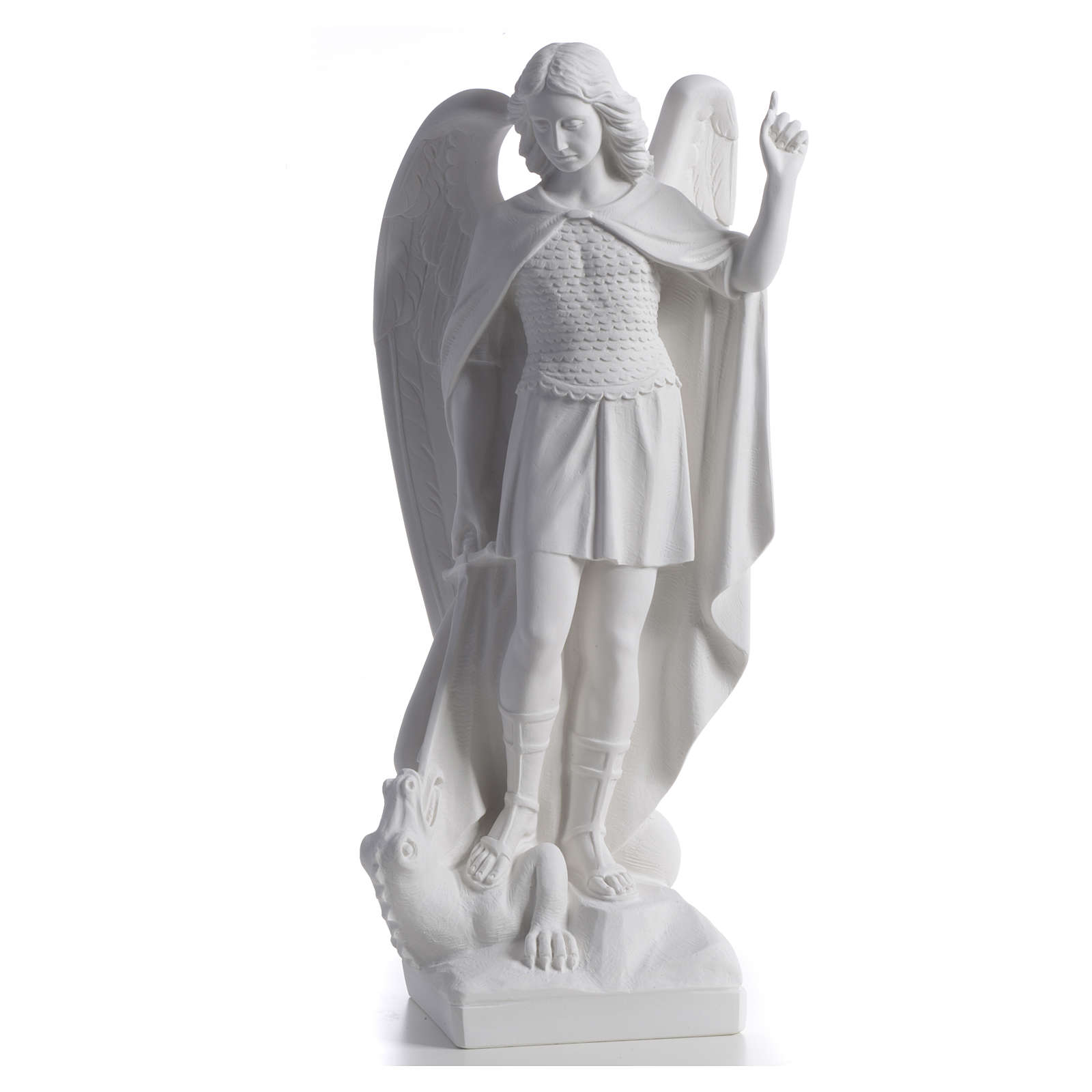 San Michele arcangelo 60 cm marmo bianco 4