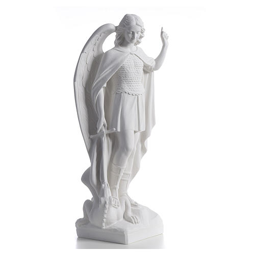 San Michele arcangelo 60 cm marmo bianco 2