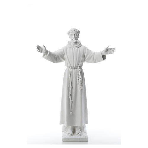 Saint Francis with open arms, 100 cm reconstituted marble statue 1