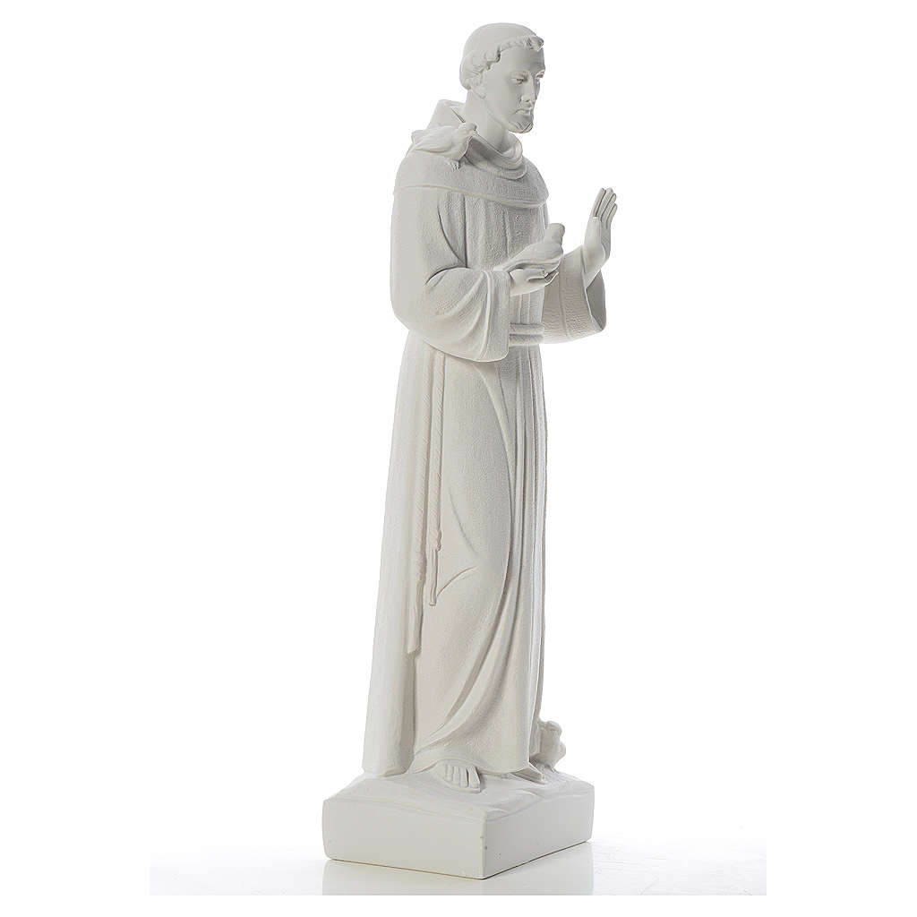 Saint Francis with doves, reconstituted carrara marble statue 75 cm 4