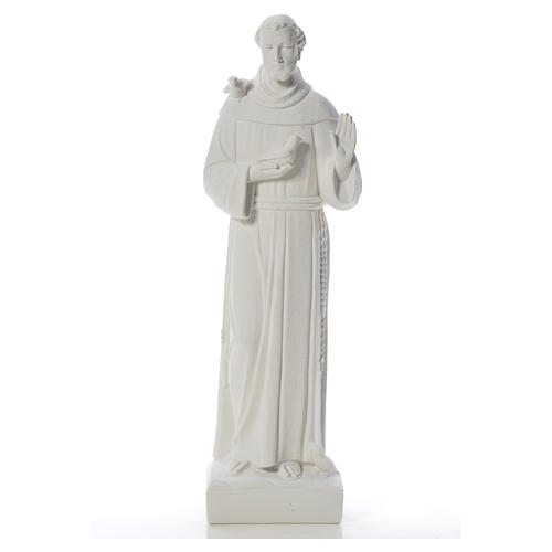 Saint Francis with doves, reconstituted carrara marble statue 75 cm 5