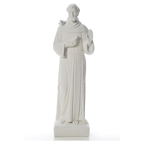 Saint Francis with doves, reconstituted carrara marble statue 75 cm 1