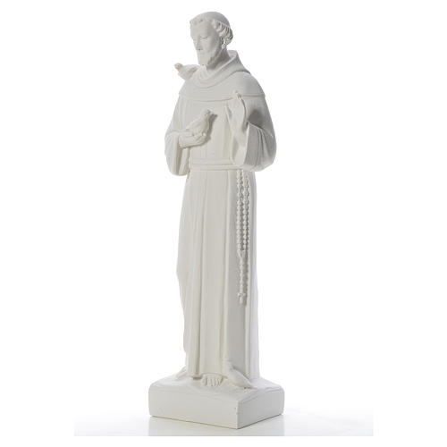 Saint Francis with doves, reconstituted carrara marble statue 75 cm 2