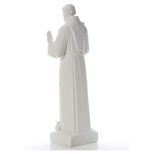 Saint Francis with doves, reconstituted carrara marble statue 75 cm 3