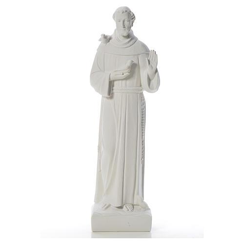 St François avec colombes marbre blanc 75 cm