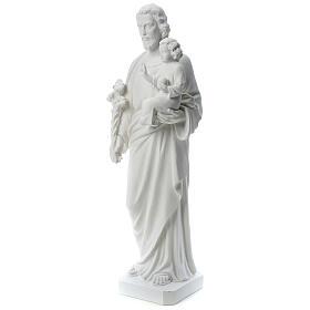 Heiliger Joseph Marmorpulver Statue Weiß 100 cm s3