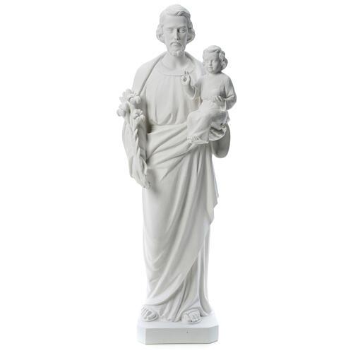 Heiliger Joseph Marmorpulver Statue Weiß 100 cm 1