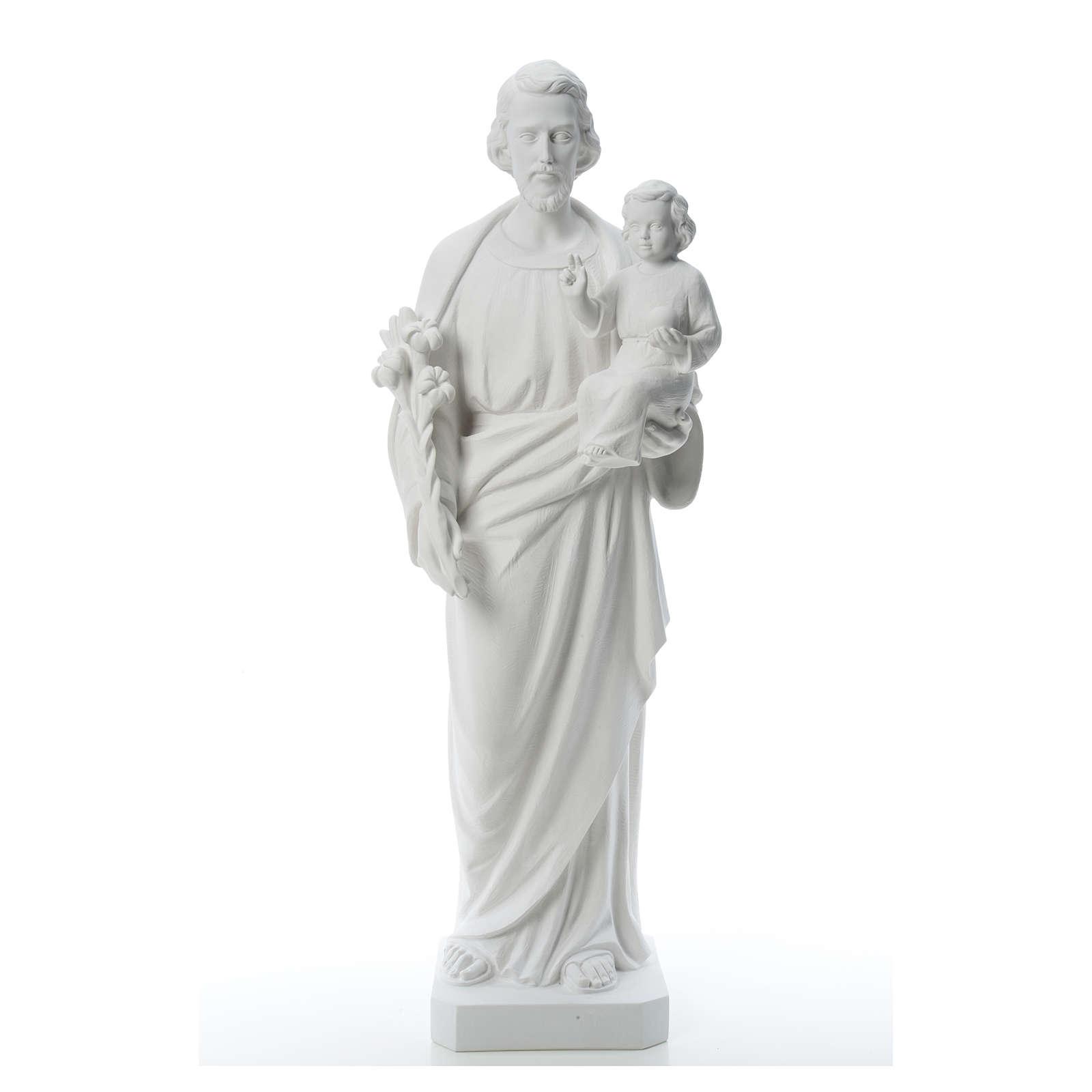 Saint Joseph Statue in Reconstituted Carrara Marble 100 cm 4