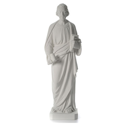 Saint Joseph the joiner, reconstituted marble statue, 100 cm 3