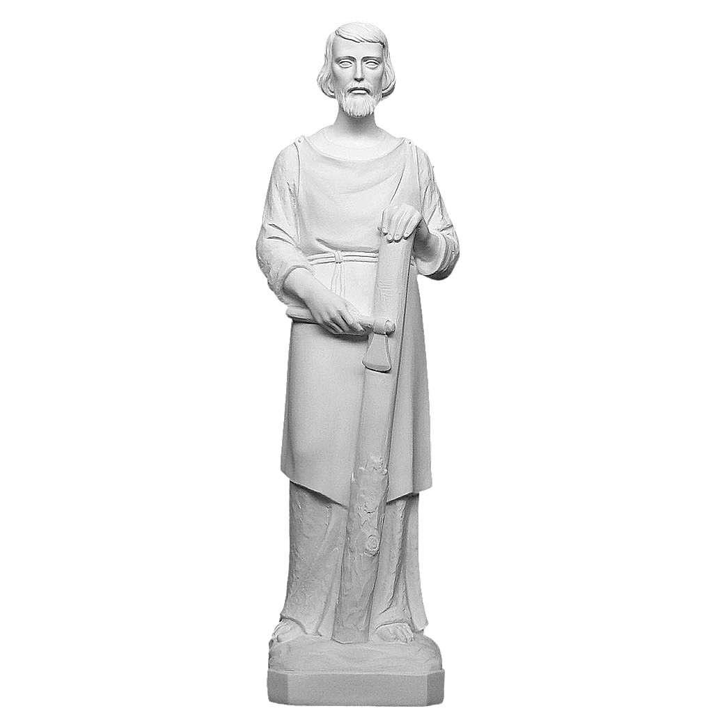 San Giuseppe falegname 80 cm marmo bianco 4