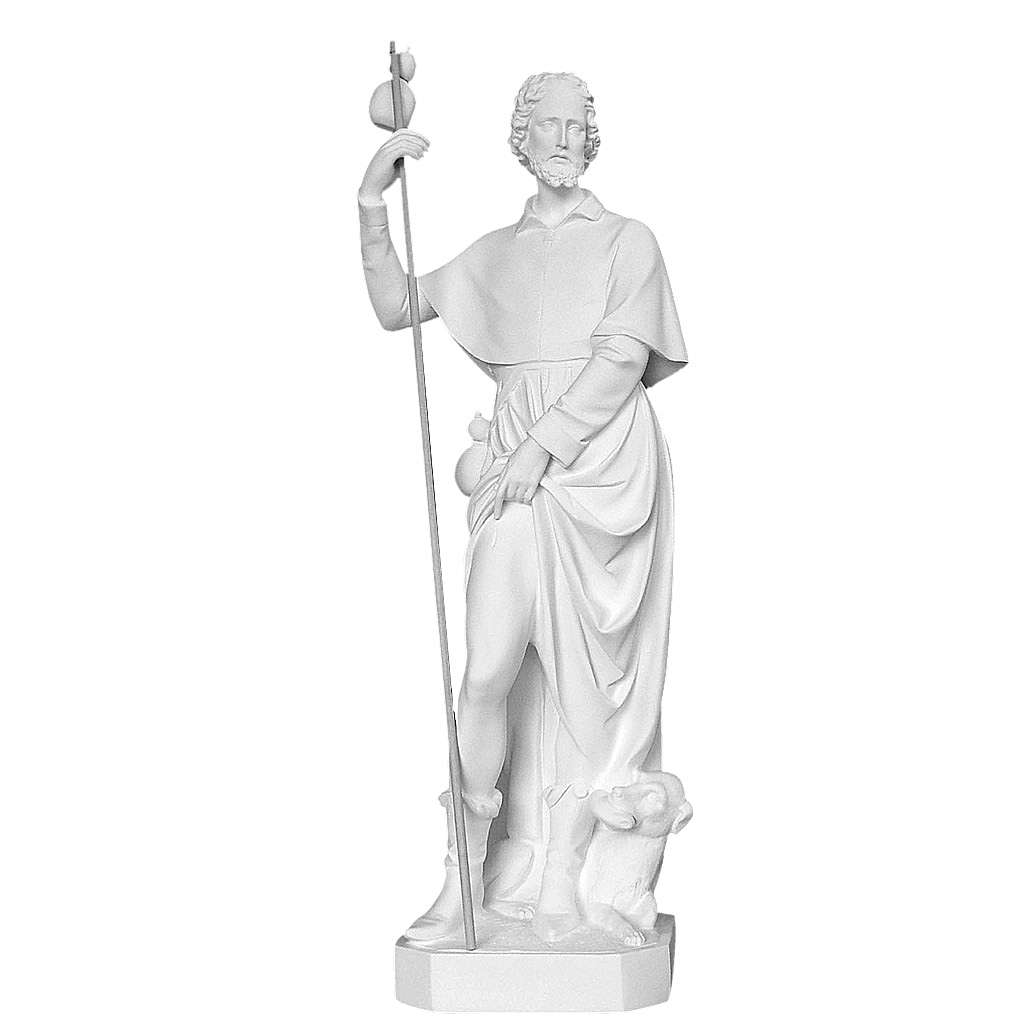 Saint Roch with dog, 100 cm statue in reconstituted marble 4