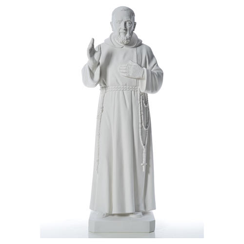 Padre Pio statue in reconstituted Carrara marble, 110 cm 5