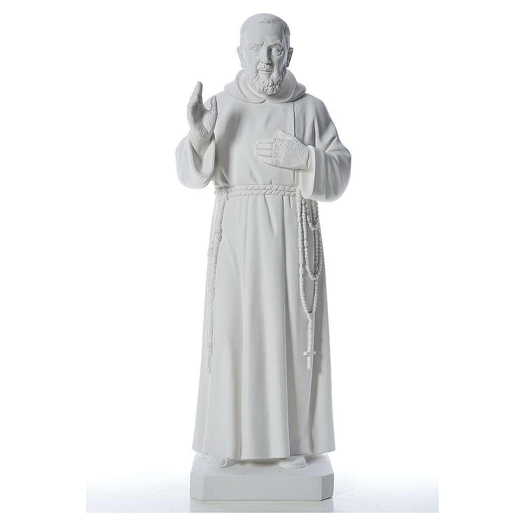 San Padre Pio 110cm polvo de mármol blanco 4