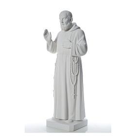 San Padre Pio 110cm polvo de mármol blanco s2