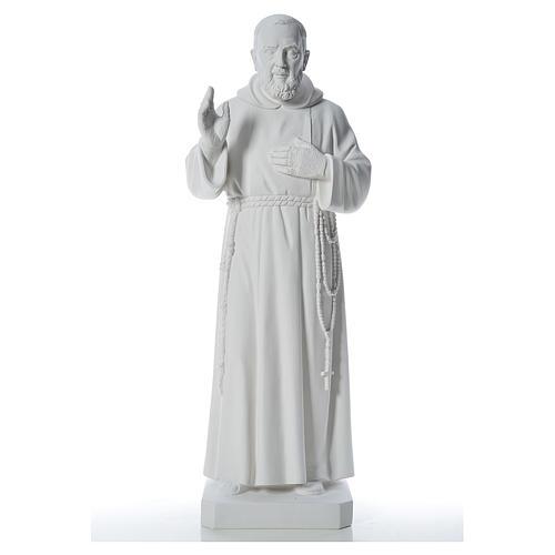 San Padre Pio 110cm polvo de mármol blanco 1