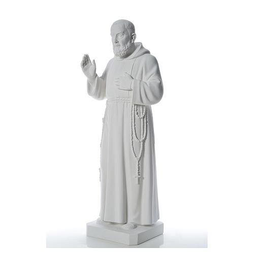 San Padre Pio 110cm polvo de mármol blanco 2