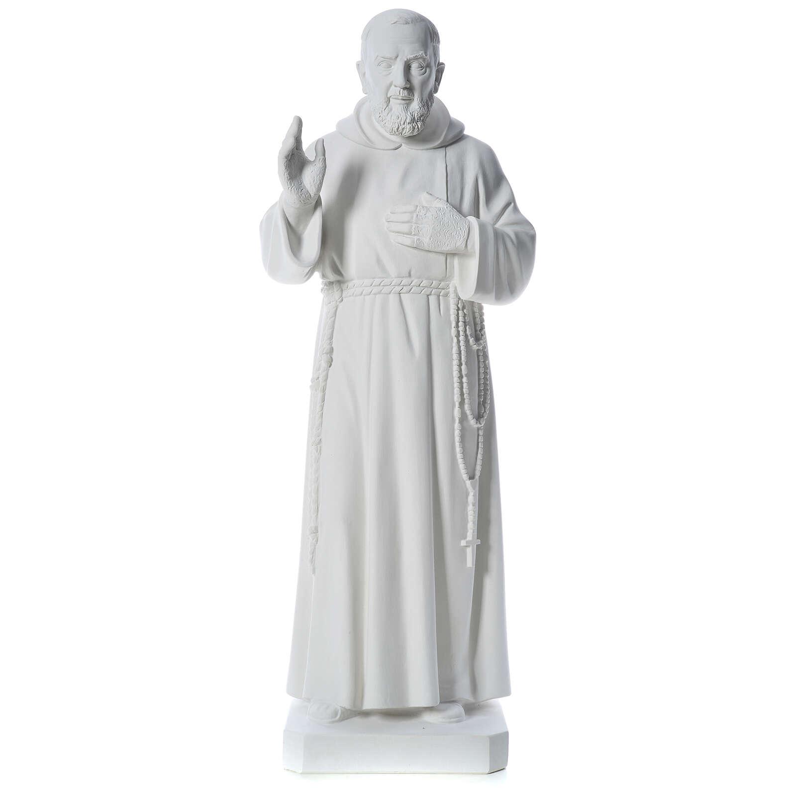 San Padre Pio 110 cm polvere di marmo bianco 4