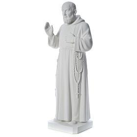 San Padre Pio 110 cm polvere di marmo bianco s3