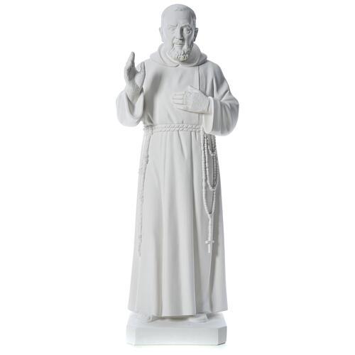 San Padre Pio 110 cm polvere di marmo bianco 1