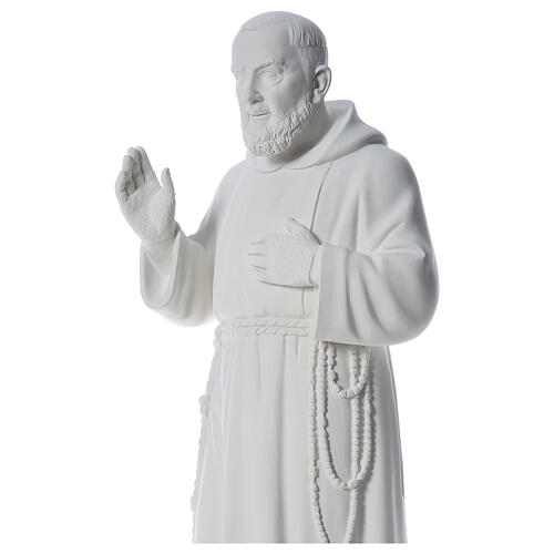 San Padre Pio 110 cm polvere di marmo bianco 2