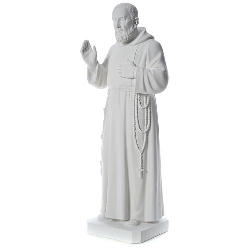 San Padre Pio 110 cm polvere di marmo bianco 3
