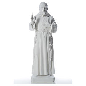 Imagens em Pó de Mármore de Carrara: Padre Pio 110 cm mármore branco