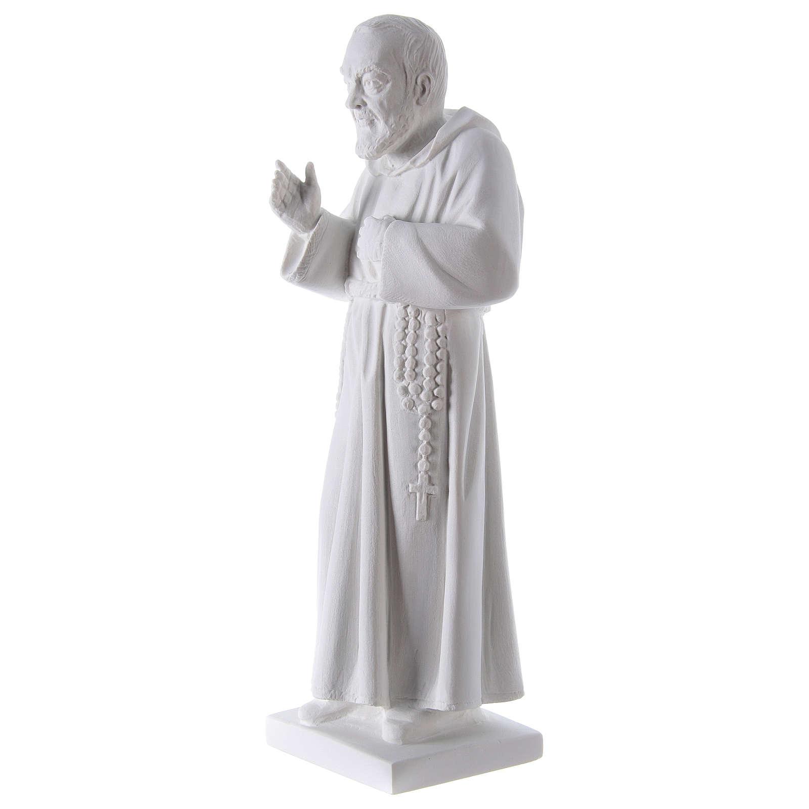 São Padre Pio 50 cm pó mármore de Carrara 4