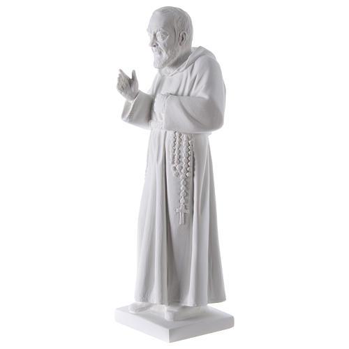 São Padre Pio 50 cm pó mármore de Carrara 3