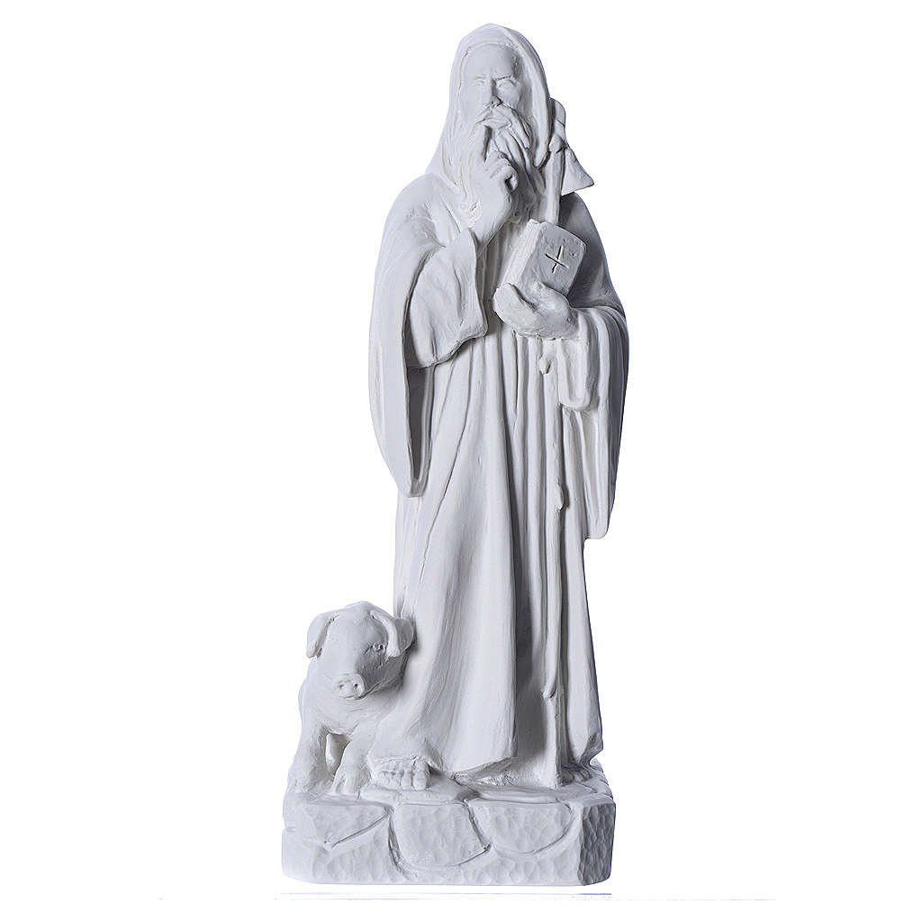 Saint Anthony the Abbot in reconstituted Carrara marble, 35 cm 4