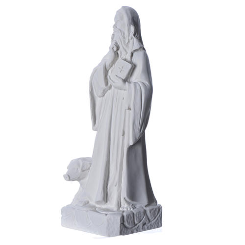 Saint Anthony the Abbot in reconstituted Carrara marble, 35 cm 6