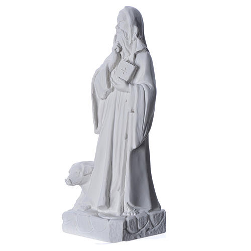 Saint Anthony the Abbot in reconstituted Carrara marble, 35 cm 2