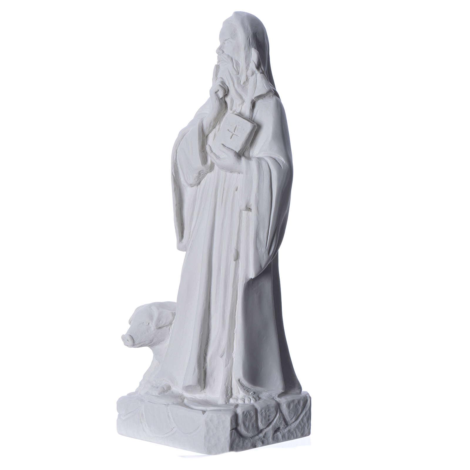 Sant'Antonio Abate 35 cm marmo bianco 4