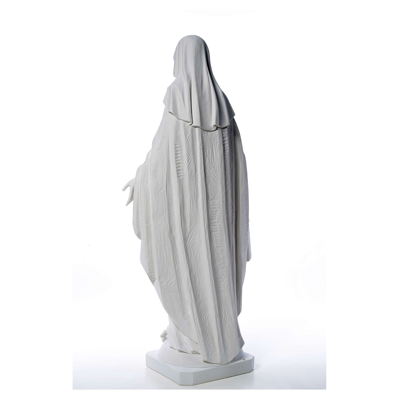 Our Lady of Miracles in reconstituted Carrara marble, 100 cm 4
