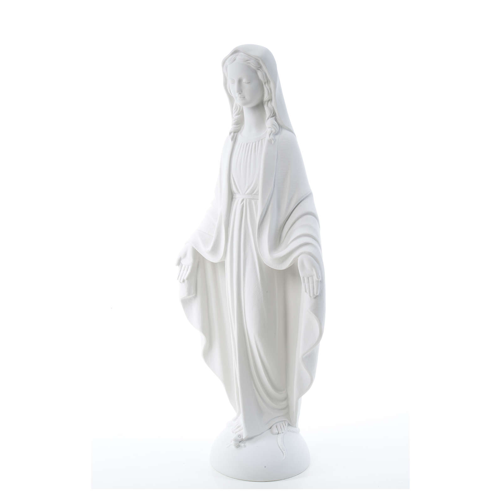 Our Lady of Miracles in reconstituted Carrara marble 75 cm 4