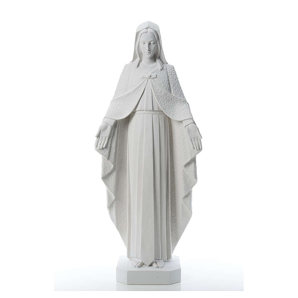 Our Lady with open arms, statue in reconstituted marble, 110 cm 4