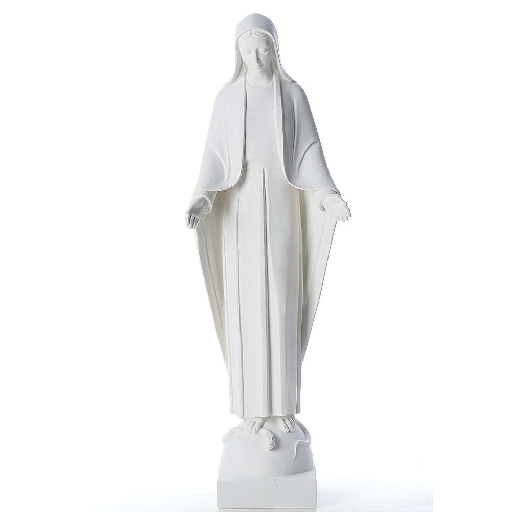 Our Lady of Miracles in reconstituted marble 60-80 cm 4